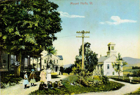 A color postcard of the Mt. Holly Baptist Church (left) and the old Mt. Holly Store/Post Office/Telephone Office. These building are no longer standing.